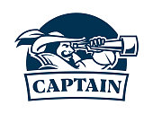 Emblem icon of boat captain or pirate in retro clothes viewing through spyglass