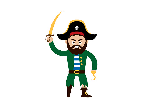 Pirate captain with wooden leg and hook vector