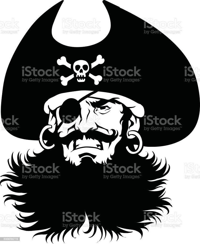 Pirate Captain's  Head in Black and White vector art illustration