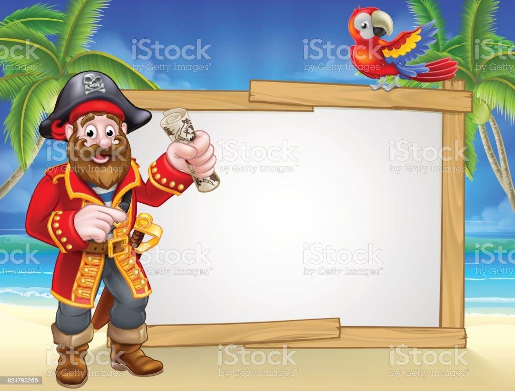 Fond de signe de pirate Cartoon Beach - Illustration vectorielle