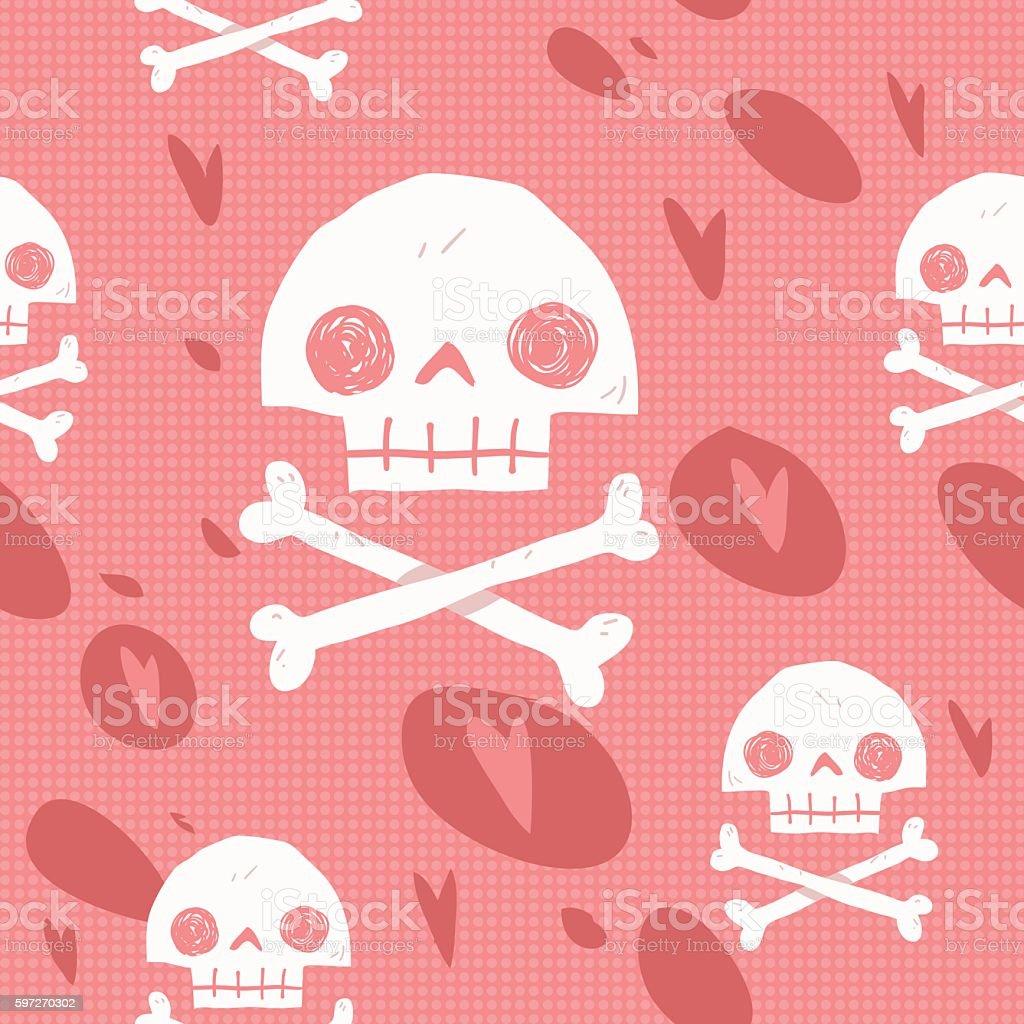 Pirate cartoon skull flag party card. vector art illustration