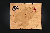istock Pirate cartoon vintage paper treasure map with a skull. 1211625217