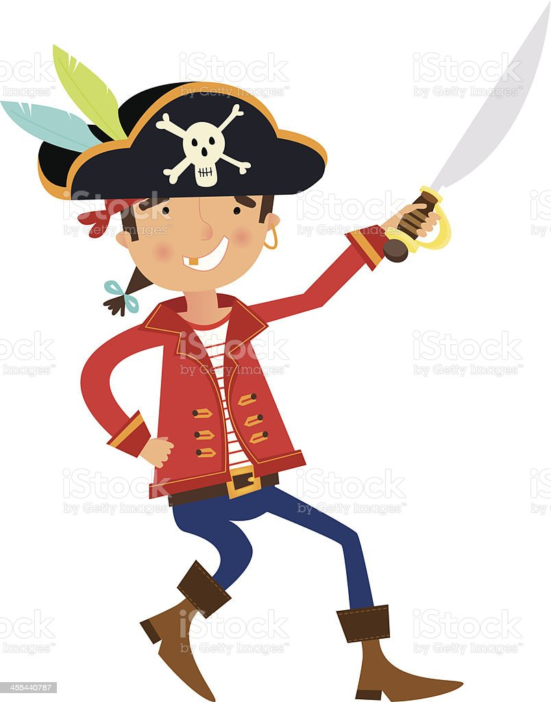 Pirate Character with Sword vector art illustration