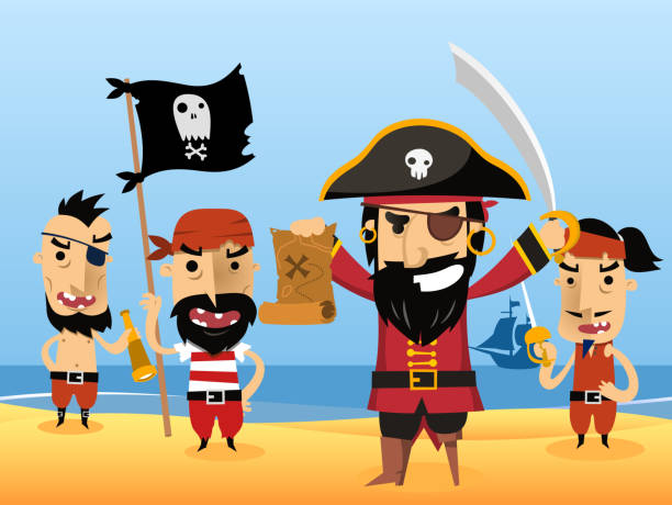 pirate characters with flag sword eye patch skull - pirates stock illustrations, clip art, cartoons, & icons
