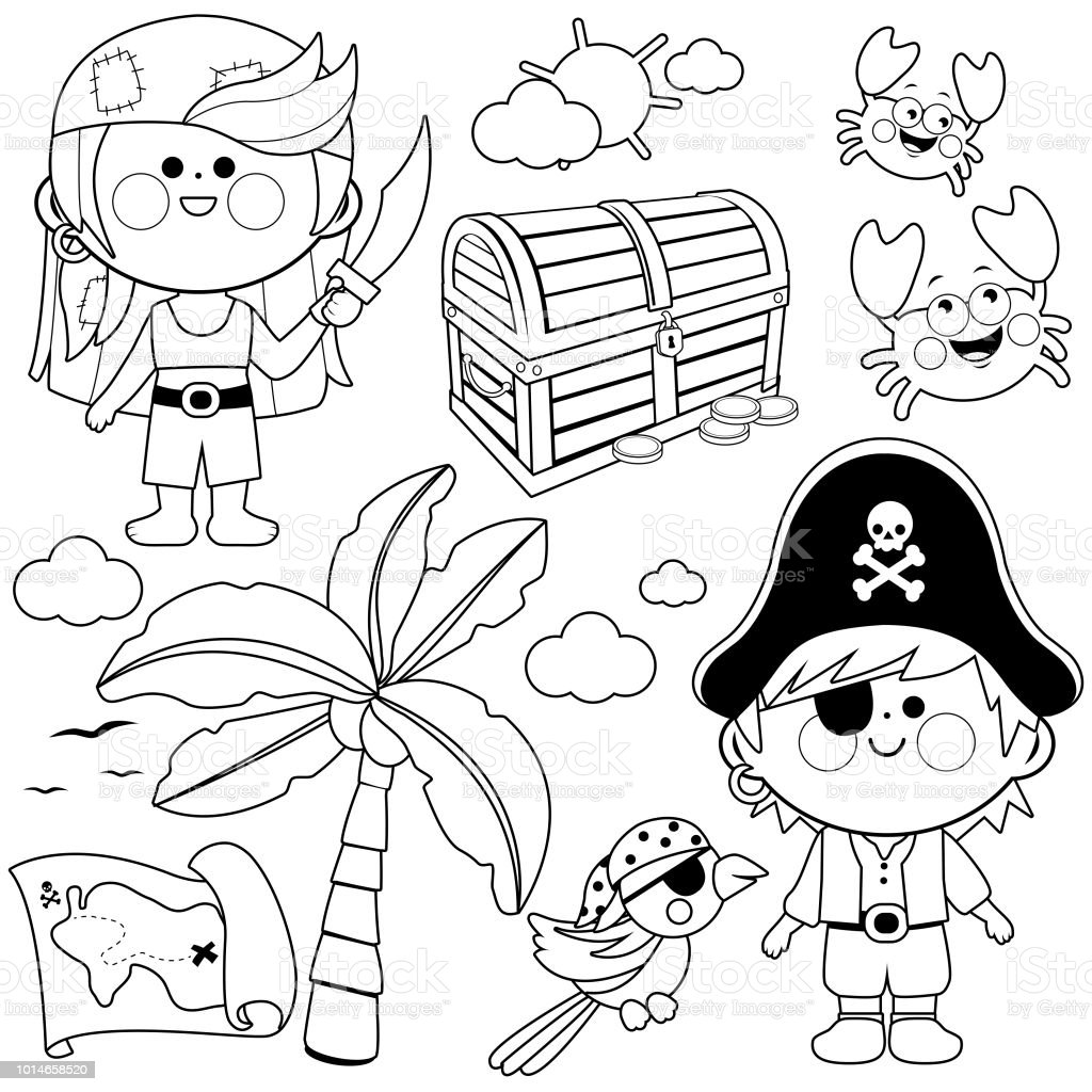 Ilustración De Niños Piratas Vector Conjunto Blanco Y Negro