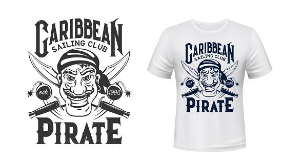 Pirate corsair t-shirt print, filibuster privateer