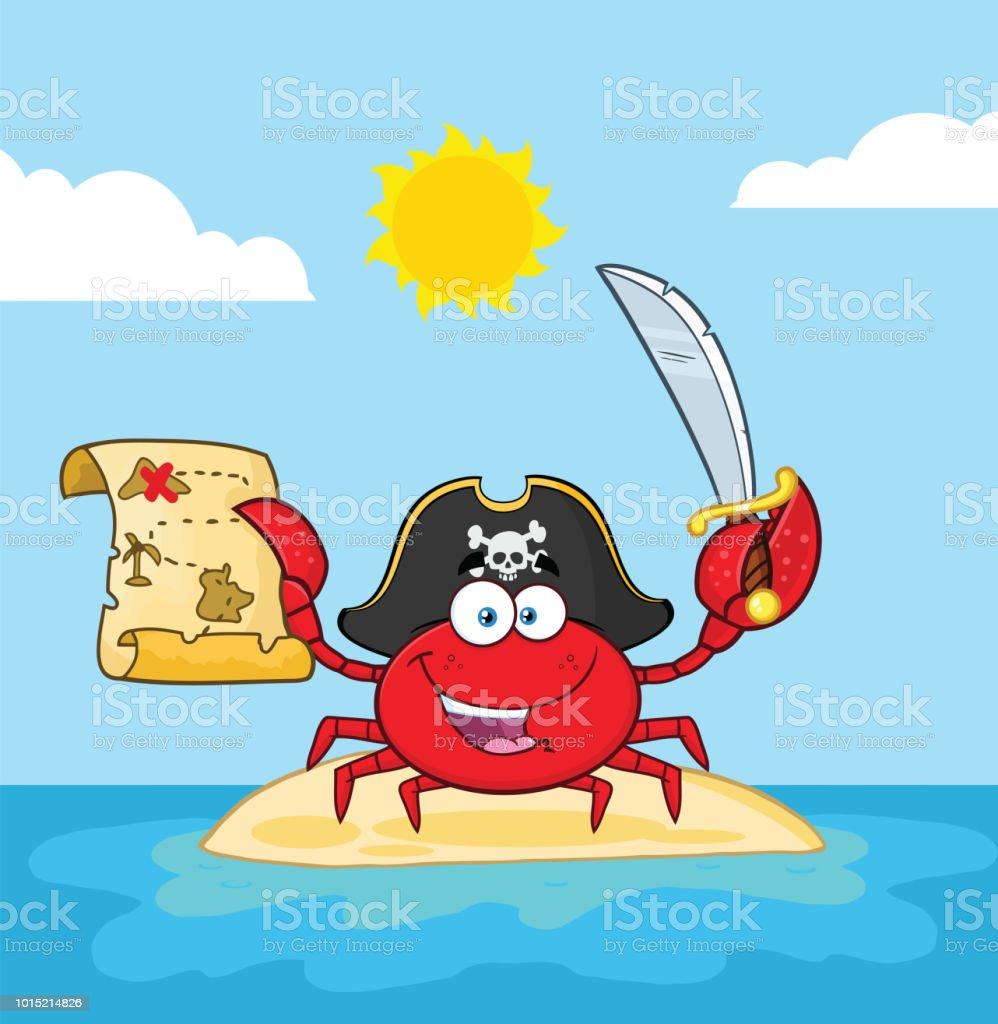 pirate crab cartoon mascot character holding a treasure map and