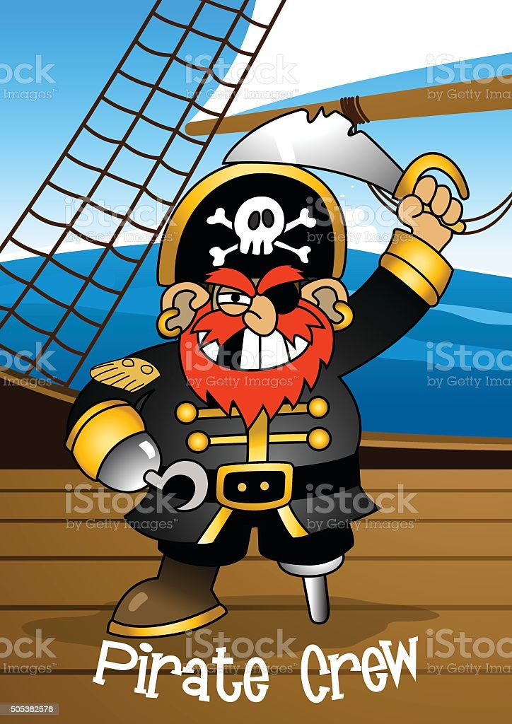 Pirate crew Captain holding a sword vector art illustration