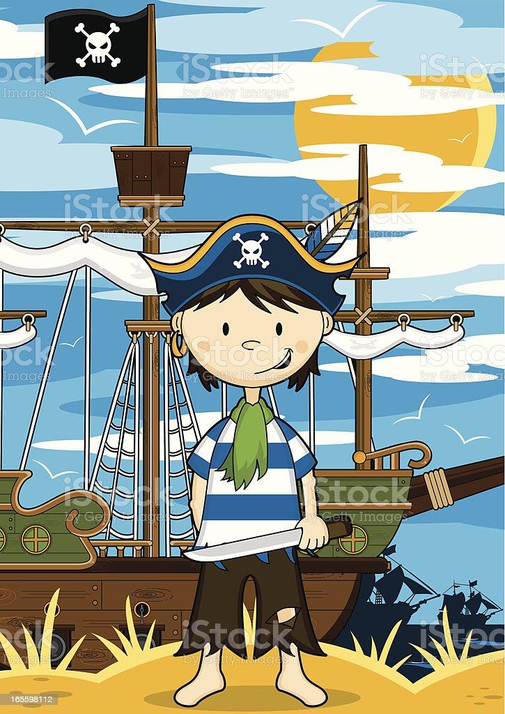 Pirate Crewman & Ship Scene royalty-free pirate crewman ship scene stock vector art & more images of bird