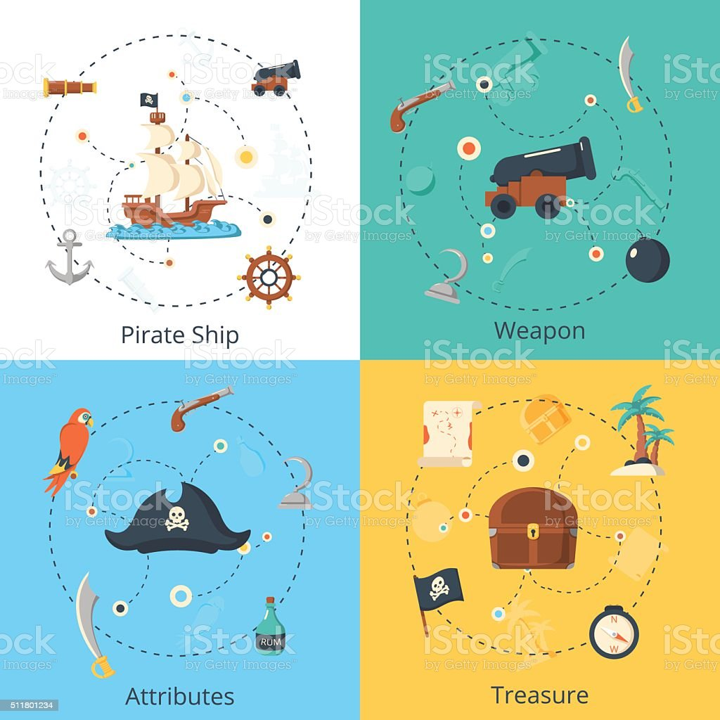 Pirate design concept set vector art illustration