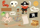 """""""Arr! It be a seafaring vector illustration o' pirate elements!"""" Includes crab, skull, pirate, gold coin, bottle of rum, limes, giant squid, anchor, Jolly Roger and treasure chest. Also includes wooden sign, scroll, banner and speech bubbles which you can add your own messages to."""