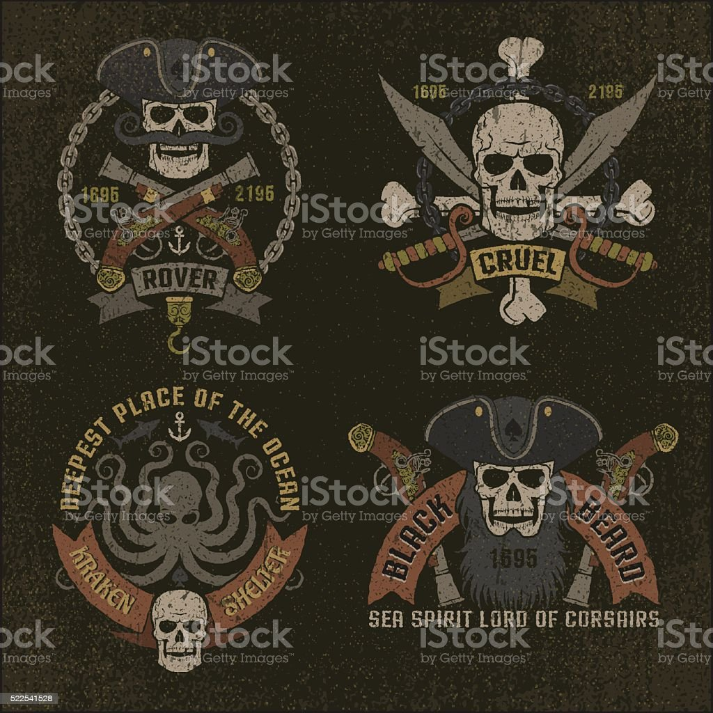Pirate emblem in grunge style vector art illustration