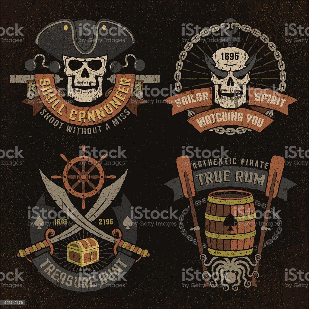 Emblema de piratas con cráneo - ilustración de arte vectorial