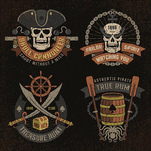 ilustraciones, imágenes clip art, dibujos animados e iconos de stock de emblema de piratas con cráneo - tatuajes de espadas