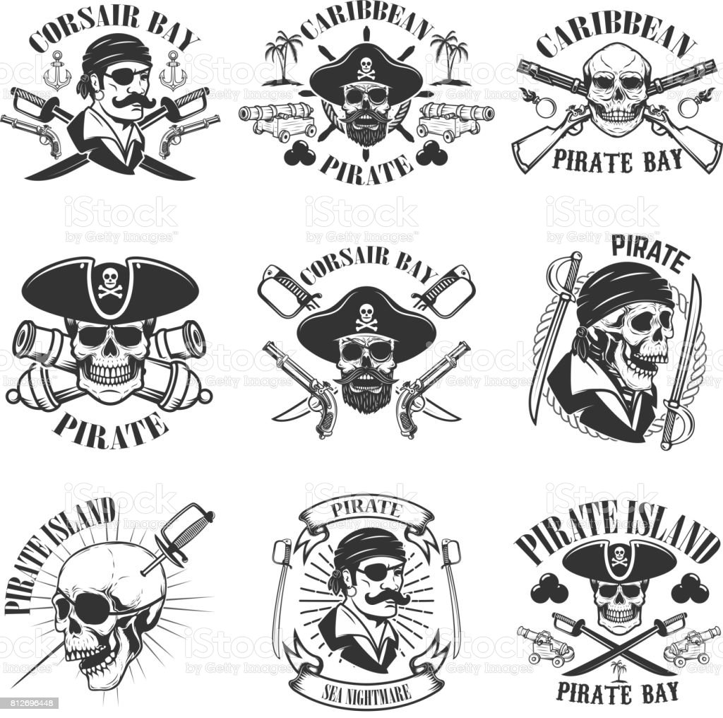 pirate emblems onwhite background. Corsair skulls, weapon, swords,guns. Design elements for label, emblem, sign, poster, t-shirt. Vector illustration vector art illustration