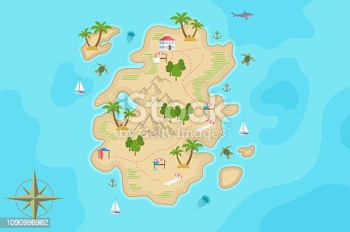 istock Pirate fantasy cartoon island map. Vector Treasure island. 1090996962