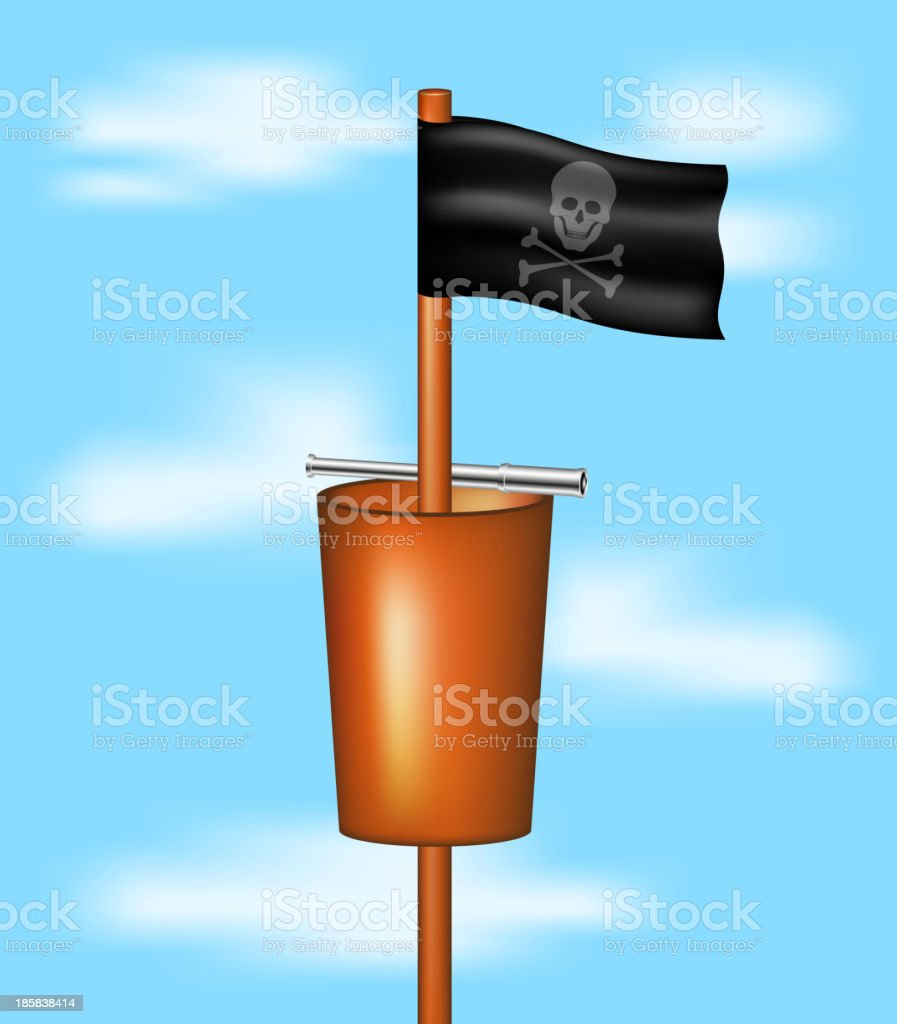 Pirate flag, basket and spyglass royalty-free stock vector art