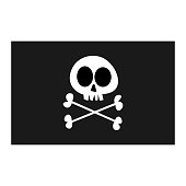Vector illustration of a pirate flag in a fun and cartoony style.