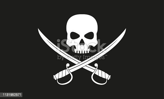 istock Pirate flag. Jolly Roger with crossed swords.  The skull and two sabers or scimitar swords. Vector illustration. 1131952571