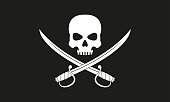 Pirate flag. Jolly Roger with crossed swords.  The skull and two sabers or scimitar swords. Vector illustration.