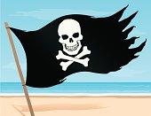 Pirate Flag on the Beach