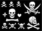 A set of pirate flags, skulls and bones