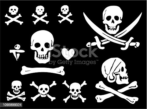 A set of pirate flags, skulls and bones