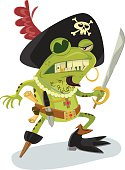 Fearless frog of the high seas, complete with cutlass and treasure map as well as sweet pirate hat and fitted frog pirate boots.