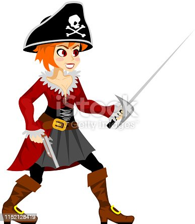 Pirate girl costume masquerade teen party female rpg game character vector design illustration