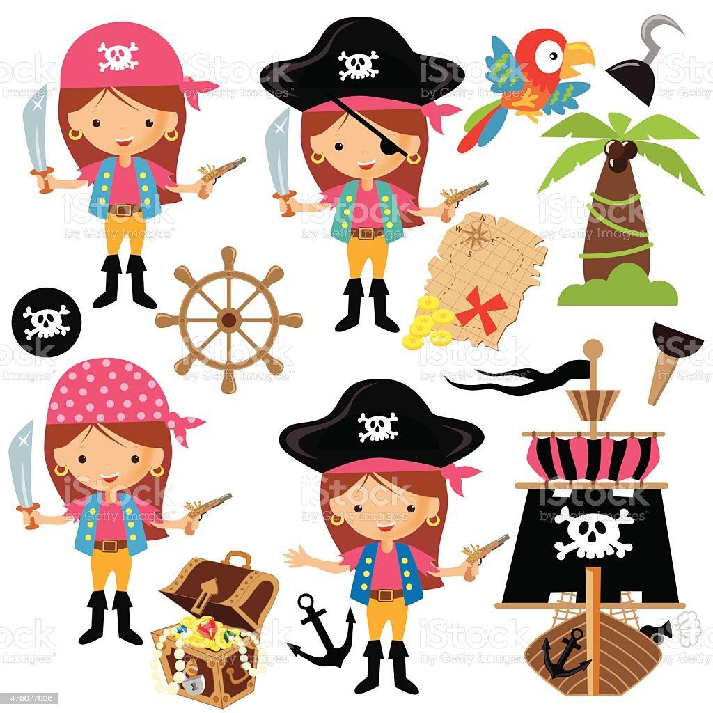 Pirate Girl Vector Illustration Stock Vector Art & More ...