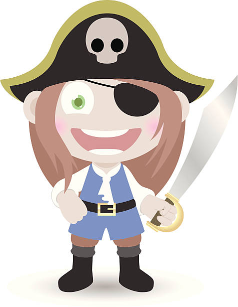 Eyepatch Pirate Girl With Swords Clip Art Vector Images Illustrations