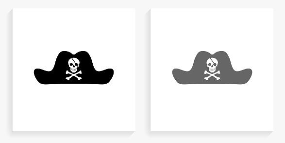 Pirate Hat Black and White Square Icon