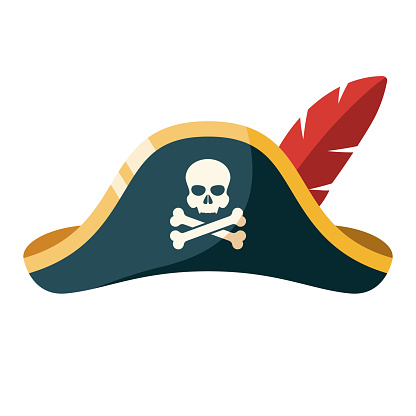 Pirate Hat Icon on Transparent Background