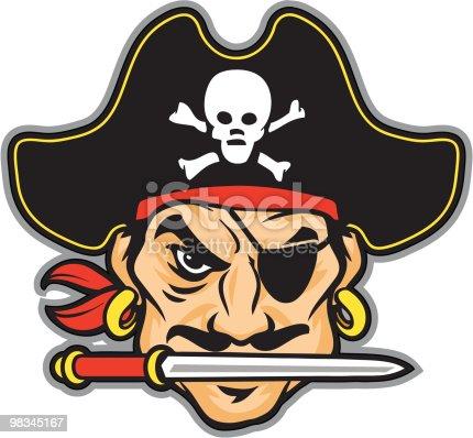 Pirate head cartoon with black hat