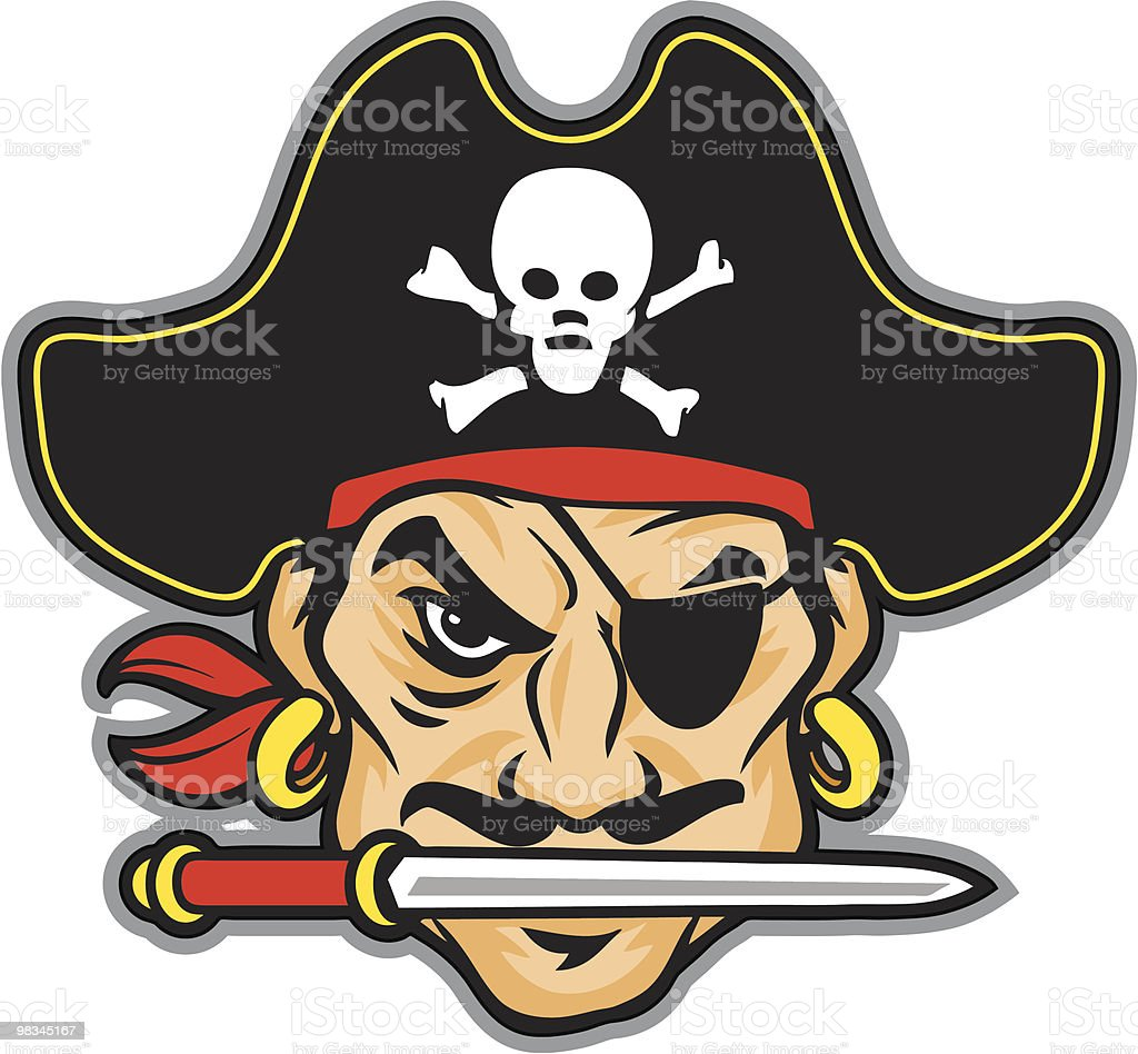 Pirate head cartoon with black hat vector art illustration