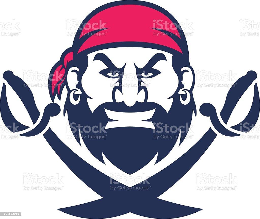Pirate head mascot vector art illustration