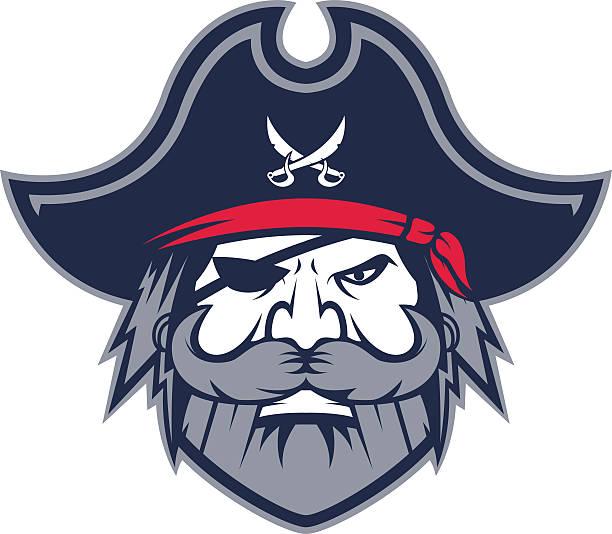 pirate head mascot - old man hat stock illustrations, clip art, cartoons, & icons