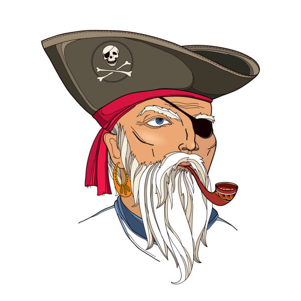 pirate head with hat and eye patch isolated on white. - old man smoking pipe drawing stock illustrations, clip art, cartoons, & icons