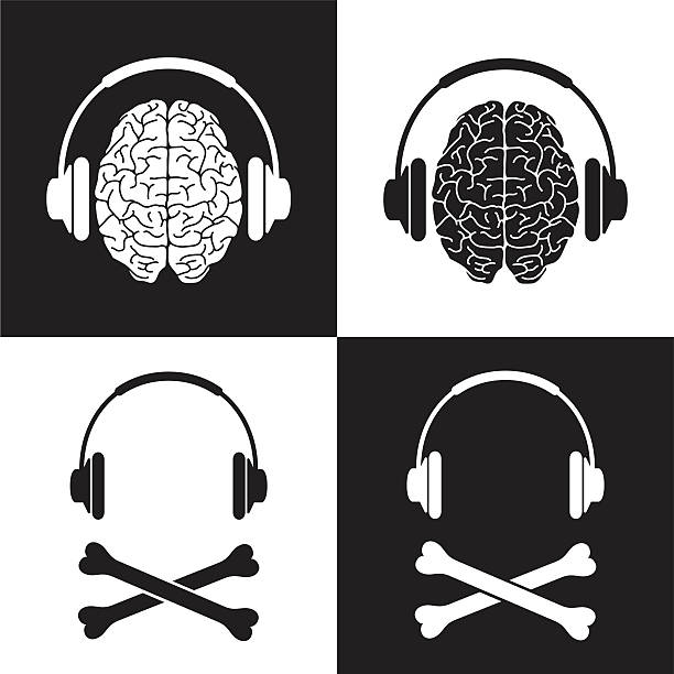 pirate kopfhörer gehirn - sensorischer impuls stock-grafiken, -clipart, -cartoons und -symbole