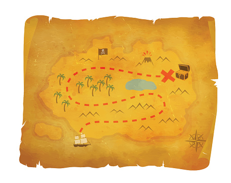 Pirate Hidden Treasure Hunt Vintage Map Chest of Gold