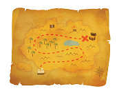 Pirate, hidden treasure hunt. Quest for gold. Vintage, antique old treasure map. Chest of gold,  deserted island adventure vector illustration.
