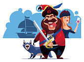 vector illustration of pirate holding sword