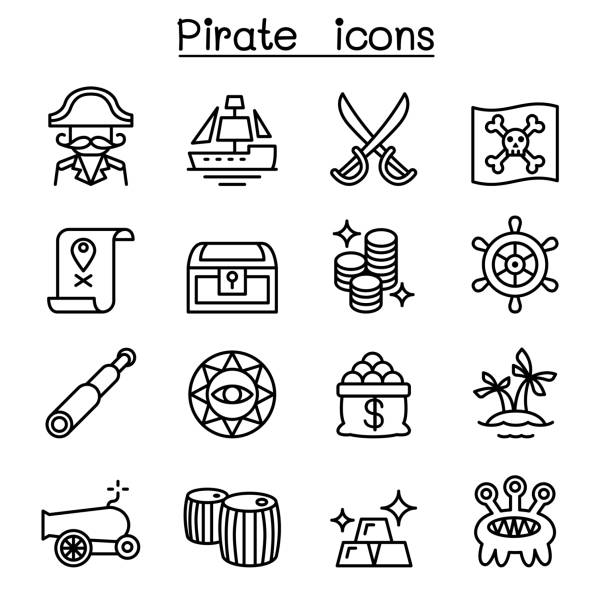 Pirate icon set in thin line style Pirate icon set in thin line style antiquities stock illustrations