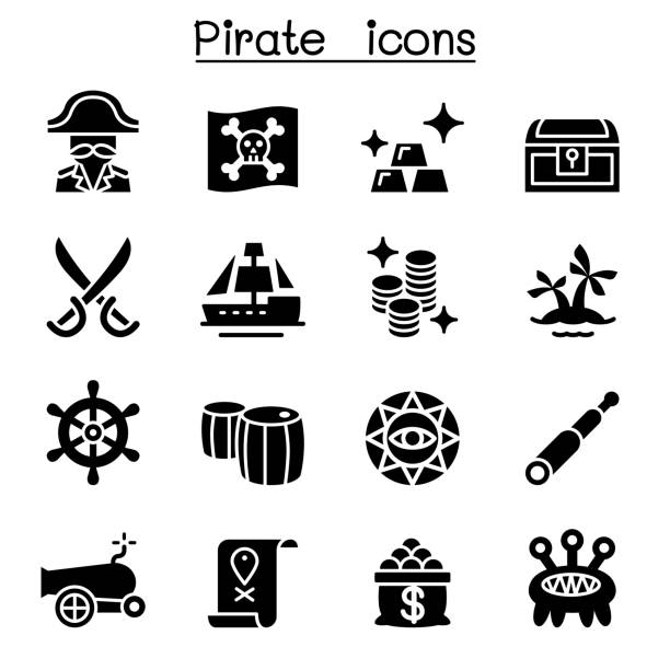 pirate icon set - evil money stock illustrations, clip art, cartoons, & icons