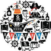 A set of pirate related icons. Click below for more kids images.