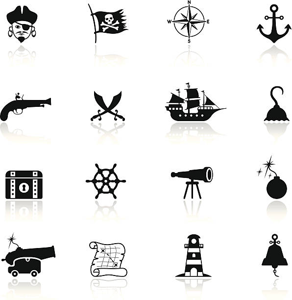 Pirate Icon Set High Resolution JPG,CS5 AI and Illustrator EPS 8 included. Each element is named,grouped and layered separately. Very easy to edit.  pirate ship stock illustrations