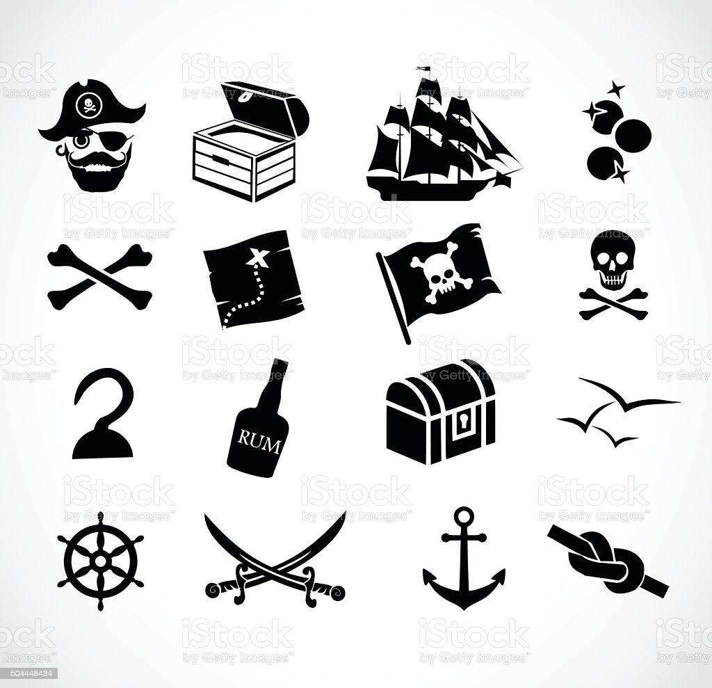 Pirate icon set vector illustration vector art illustration