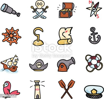 Vector file of Doodle Pirate Icon Set