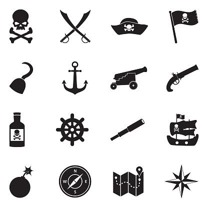 Pirate Icons. Black Flat Design. Vector Illustration.
