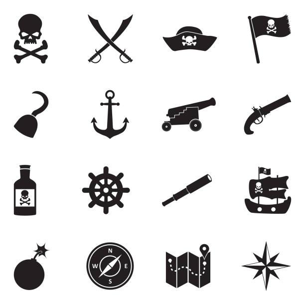 pirate icons. black flat design. vector illustration. - pirates stock illustrations, clip art, cartoons, & icons